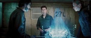 In Edge of Tomorrow gebruiken de soldaten hologrammen om informatie over hun tegenstander efficiënt en helder af te beelden. Hier zie je een grote alien die in de film een belangrijke rol speelt.